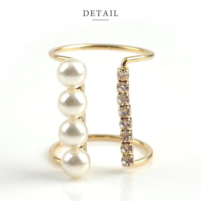 日本CREAM DOT  /  個性鋯石珍珠戒指-a00481-日本必買 日本樂天直送(1078) /  件件含運 3