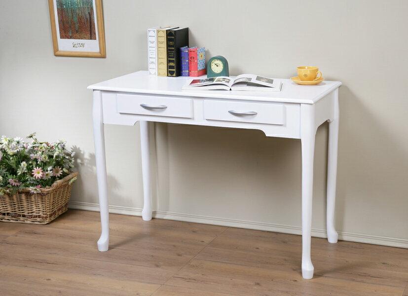 100cm防潑水二抽書桌 電腦桌 工作桌 美甲桌 簡單組裝【馥葉】【型號DE1050】可加購玻璃、椅子