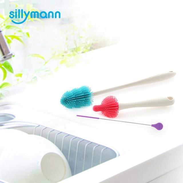 韓國【sillymann】100%鉑金矽膠刷類超值組(奶瓶刷、奶嘴刷、吸管刷)-米菲寶貝