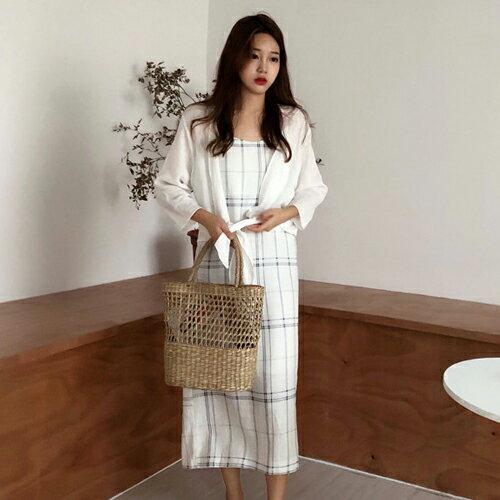 PS Mall 休閒格紋連身裙 細肩帶背心長版洋裝【T709】 1
