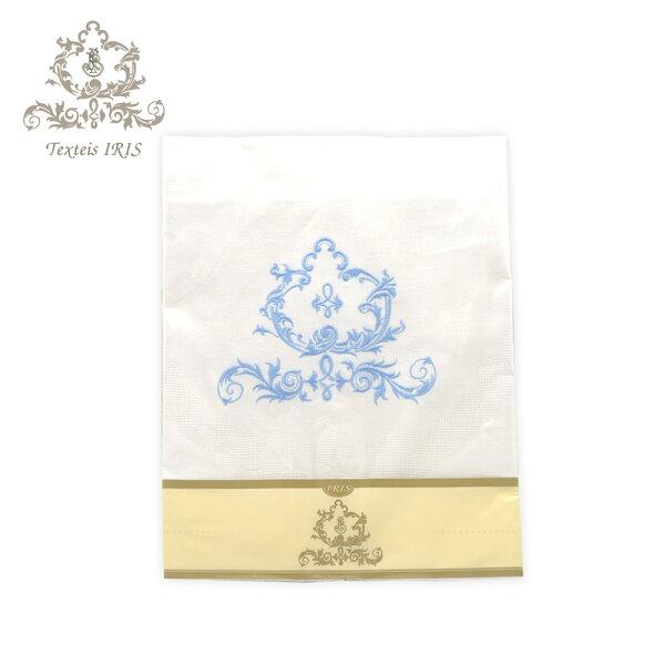 葡萄牙TexteisIRIS高質感緹花亞麻60*110cm桌巾桌旗(淡藍色繡花)
