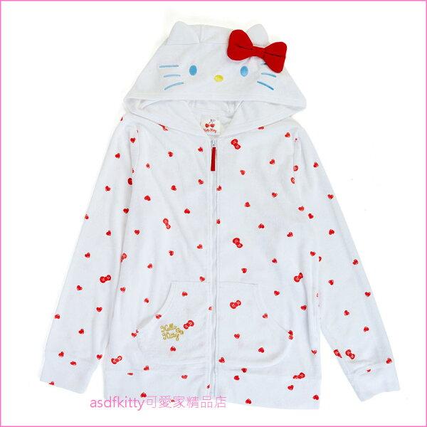 asdfkitty可愛家☆KITTY造型連帽外套-白底紅愛心-日本正版商品