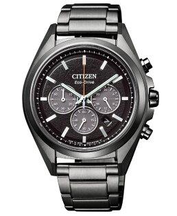 CITIZEN星辰CA4394-54E強悍光動能三眼計時腕錶黑+黑面41mm