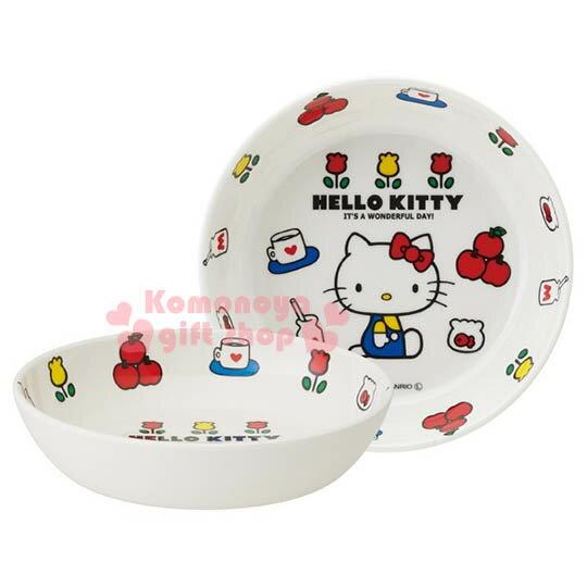 〔小禮堂〕Hello Kitty 美耐皿盤~小.白.側坐.蘋果.鬱金香.13cm~70年代