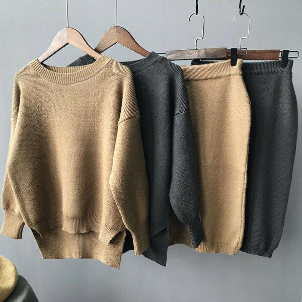 打底衫長袖毛衣包臀針織裙兩件套裝樂天時尚館。現貨。[全店免運]
