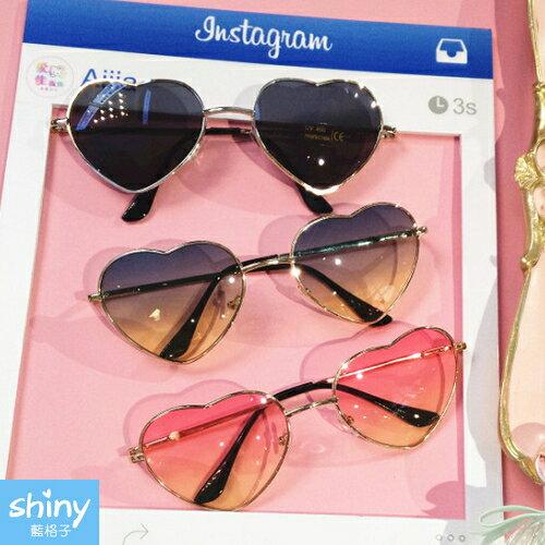 【V600】shiny藍格子-個性復古.愛心漸變炫酷透明墨鏡太陽眼鏡★全店滿600折60優惠券序號U9T6-RDIR-BAKY-CXQF★