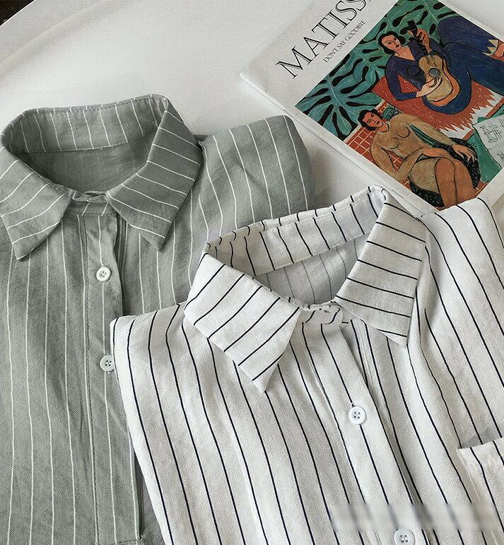 【V2525】shiny藍格子-文青女孩.條紋口袋寬鬆七分袖襯衫上衣 4