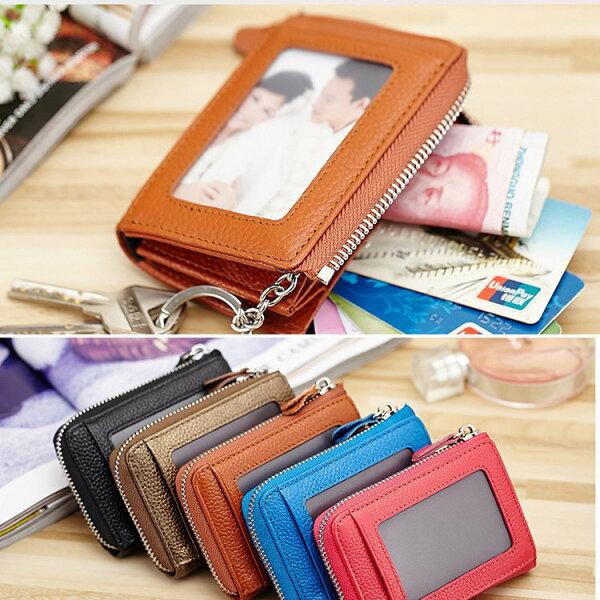 BOBI:短夾拉鍊牛皮多功能卡包錢包簡約短夾【CL2669】BOBI0104