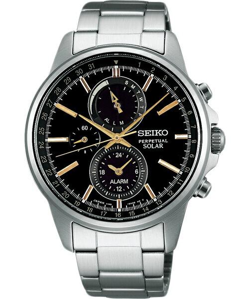Seiko Spirit V198-0AC0K(SBPJ007J)極致太陽能多功能流行腕錶/黑面41mm