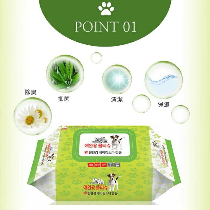 (加贈健康時刻潔牙骨乙包)【韓國 DAILY WATER】寵物專用抗菌去味濕紙巾 4包組 5