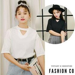 超取免運『預購』Fashion Co. 韓系新品圓領拼接素色棉質短袖上衣 (共2色)  S~XL [G0567]