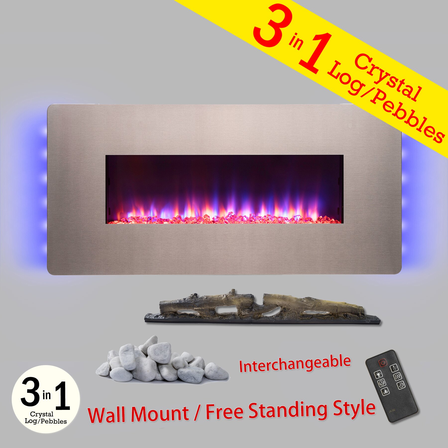 "AKDY 48"" Freestanding Wall Mount Interchangeable Adjustable Flame Electric Fireplace Heater Stove w/ Remote 0"