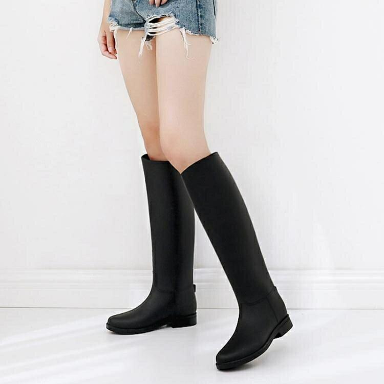 英倫雨鞋 女高筒夏時尚雨靴女 成人長筒水鞋女士防滑膠鞋馬丁水靴  居家物語