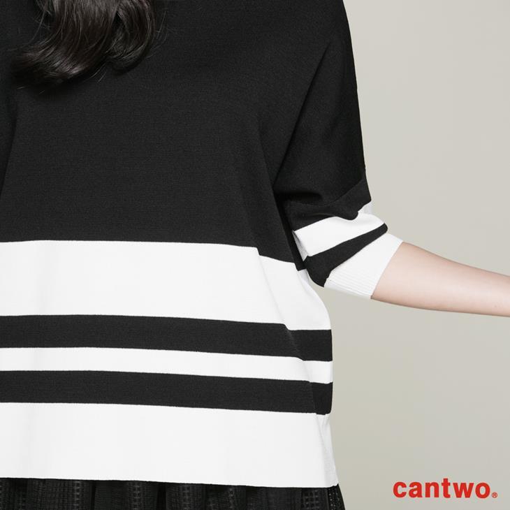 cantwo雙色都會五分袖針織上衣(共三色) 4