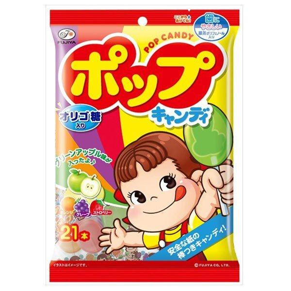 【Fujiya不二家】綜合4種口味POP棒棒糖21支入-草莓 / 橘子 / 葡萄 / 青蘋果 121.8g ポップキャンディ袋 3.18-4 / 7店休 暫停出貨 0