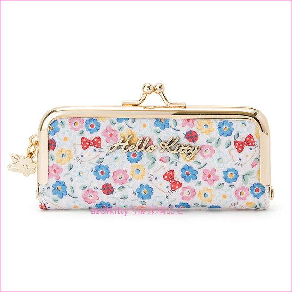 asdfkitty可愛家☆KITTY花園雙珠扣印章袋印鑑包-附印泥-日本正版商品