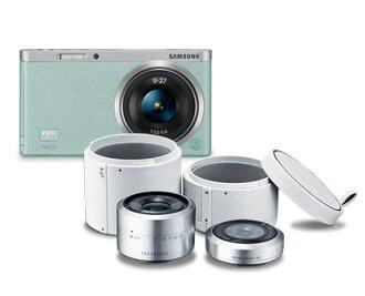 【福利出清 / 送鏡頭收納盒】SAMSUNG NX mini 9mm+9-27mm 雙鏡組 (公司貨) 微單眼 自拍 翻轉螢幕 馬卡龍色