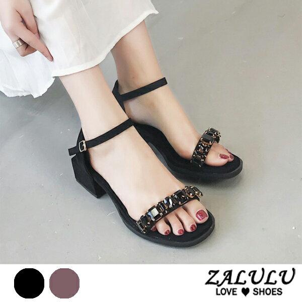 ZALULU愛鞋館7EE102預購大鑽一字帶低跟復古款涼鞋-黑紫-35-39