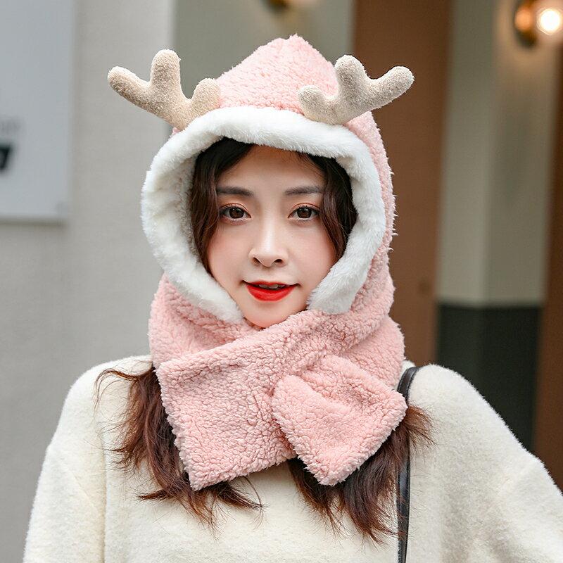 帽子圍巾一體女冬網紅款韓版潮可愛百搭毛絨護耳保暖圍脖防風頭套