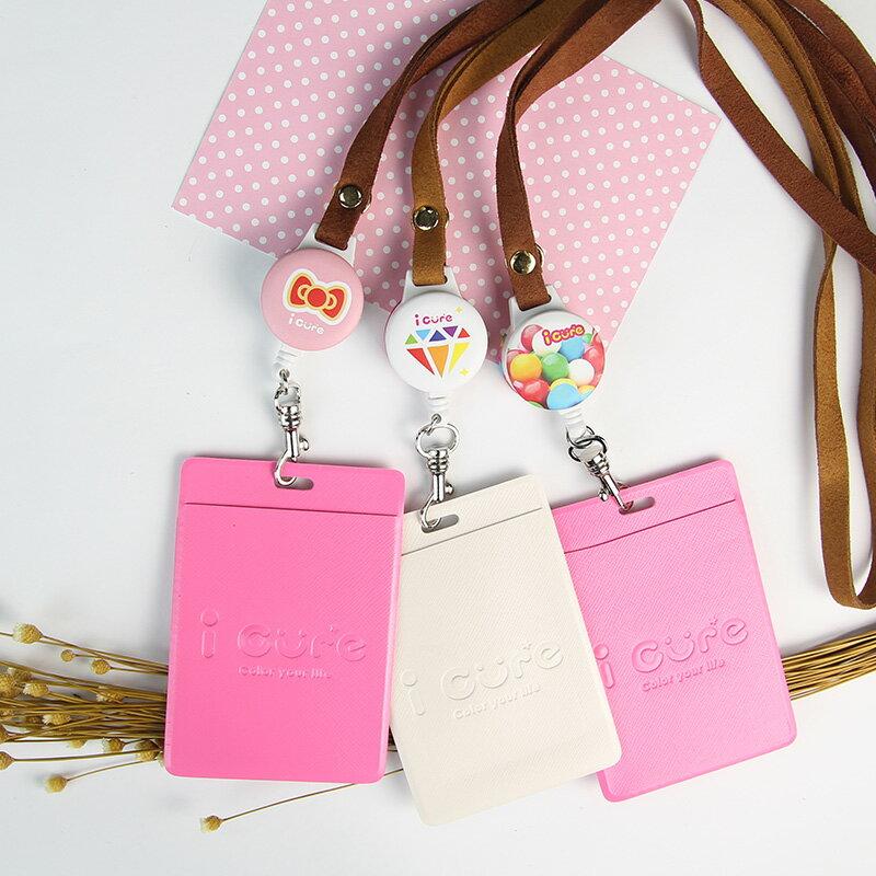 i cure - 粉紅系列-粉紅點點&彩虹鑽石&彩虹糖果(三款)  i 好戴伸縮證件票卡夾  票卡夾 悠遊卡  伸縮拉環 麂皮