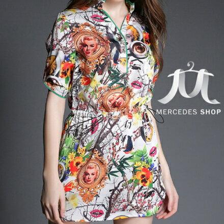 梅西蒂絲Mercedes Shop:《早秋新品5折》復古修身顯瘦真絲印花短袖洋裝-S-XL-梅西蒂絲(現貨+預購)