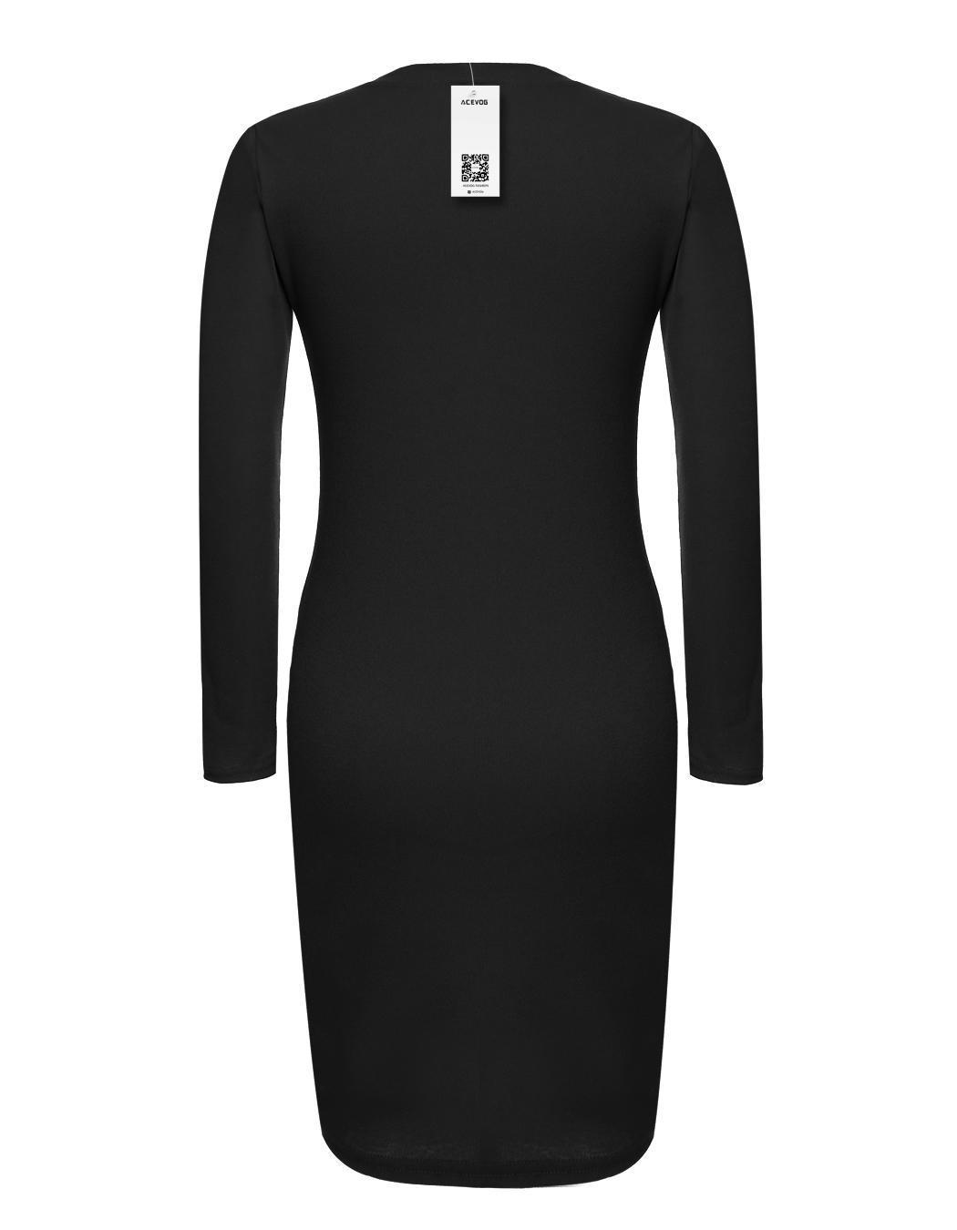 Women Career Long Sleeve Stretch Bodycon Slim Dress 4