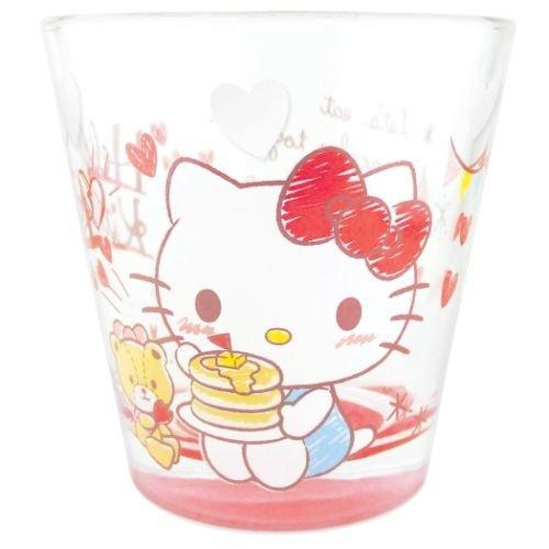 大賀屋 日貨 HELLO KITTY 玻璃杯 水杯 汽水杯 酒杯 水晶杯 啤酒杯 杯子 磨砂杯 正版 J00017300