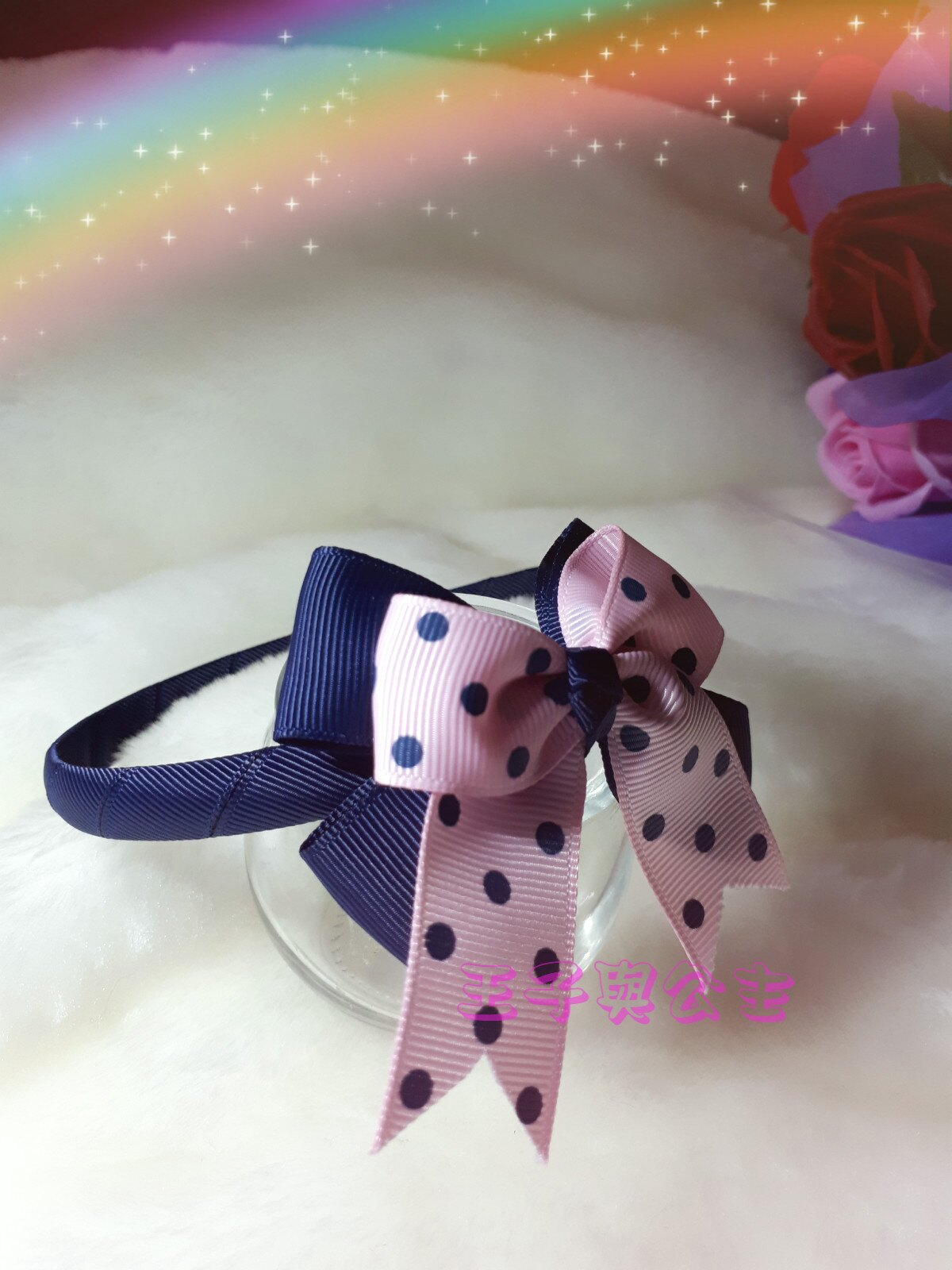 兒童髮箍 布藝雙層蝴蝶結髮箍~~深藍粉色藍點款AA013 ~~~~~ 日韓  髮飾  髮帶