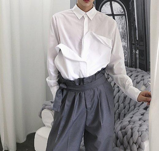 FINDSENSE H1 2018 夏季 新款 個性 小眾 設計師款 精緻氣質 重疊花片 長袖 襯衫  男 襯衣 獨家款