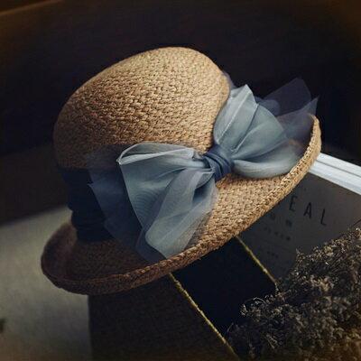 草帽手工編織漁夫帽-時尚夢幻蝴蝶結捲邊女遮陽帽73si5【獨家進口】【米蘭精品】