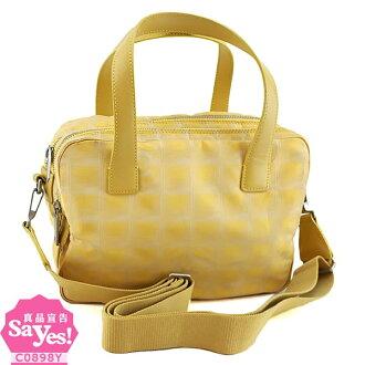 【奢華時尚】CHANEL 鮮黃色bell line手提肩背雙層方形包(八五成新) #20296