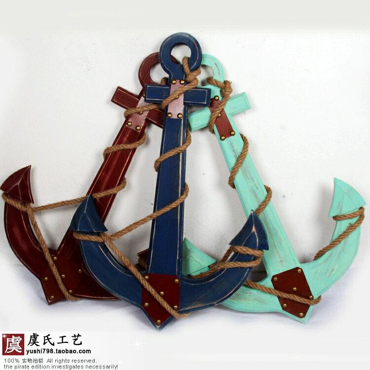 特價地中海美式鄉村風格實木木質船錨溫度計掛鉤家居裝飾品壁掛件1入