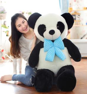 美麗大街【HB201510150】新款毛絨玩具可愛領結熊貓公仔大眼熊貓兒童節生日禮物(100cm款)