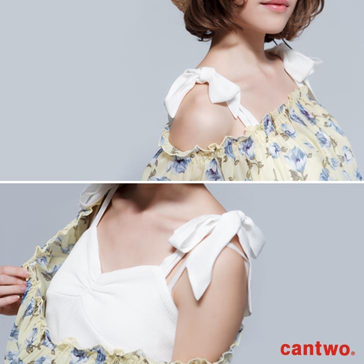 cantwo雪紡印花兩件式短袖上衣(共三色) 4