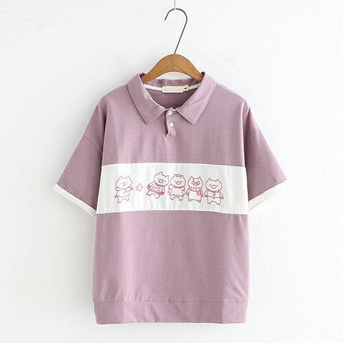 *ORead*小豬印花拼色寬鬆翻領短袖T恤(3色M~L) 0