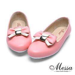 【Messa米莎專櫃女鞋】MIT蝴蝶綁帶女孩內真皮平底包鞋-粉色