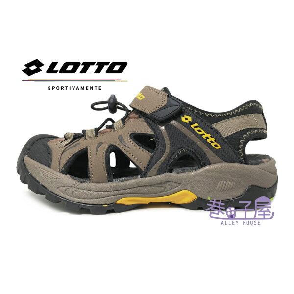 【巷子屋】義大利第一品牌-LOTTO樂得男款機能排水護趾運動涼拖鞋涼鞋拖鞋[3103]咖啡超值價$498