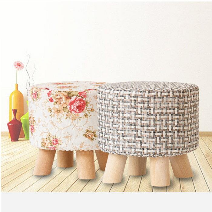 亞麻風小圓椅凳