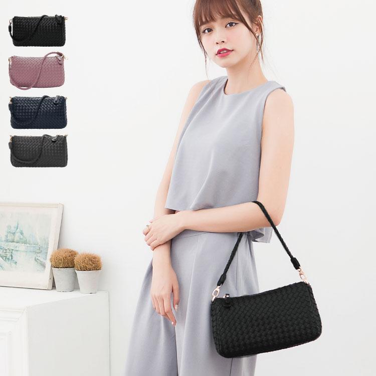 側背包 編織包 雙夾層兩用斜背包(附長帶) 女包  89.Alley ☀4色 1