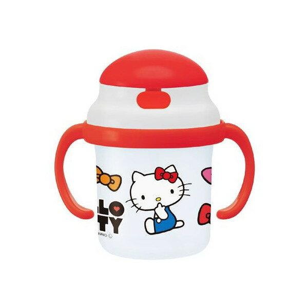 【真愛日本】17083000015 雙把手吸管學習杯-KT紅結紅 三麗鷗 kitty 凱蒂貓 水瓶 水壺 水杯