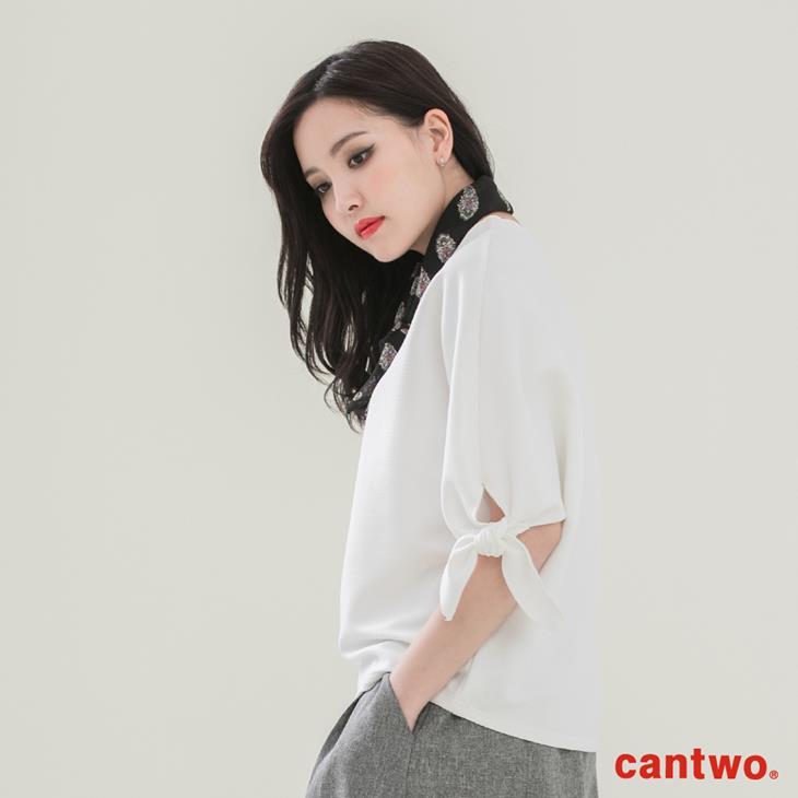 cantwo簡約綁結五分袖上衣(共二色) 2