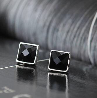 Tokyo Alice 925 純銀黑瑪瑙方塊耳釘耳環,純銀飾品首飾耳飾貼耳針飾品^(se