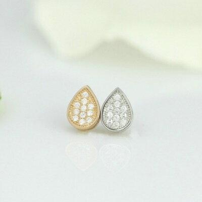925純銀耳環鑲鑽耳飾~氣質甜美水滴 情人節 女飾品2色73dm104~ ~~米蘭 ~
