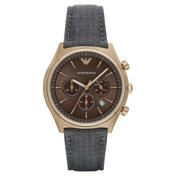 大高雄鐘錶城:EMPORIOARMANI亞曼尼AR1976鄉村經典懷舊計時腕錶咖啡面42mm