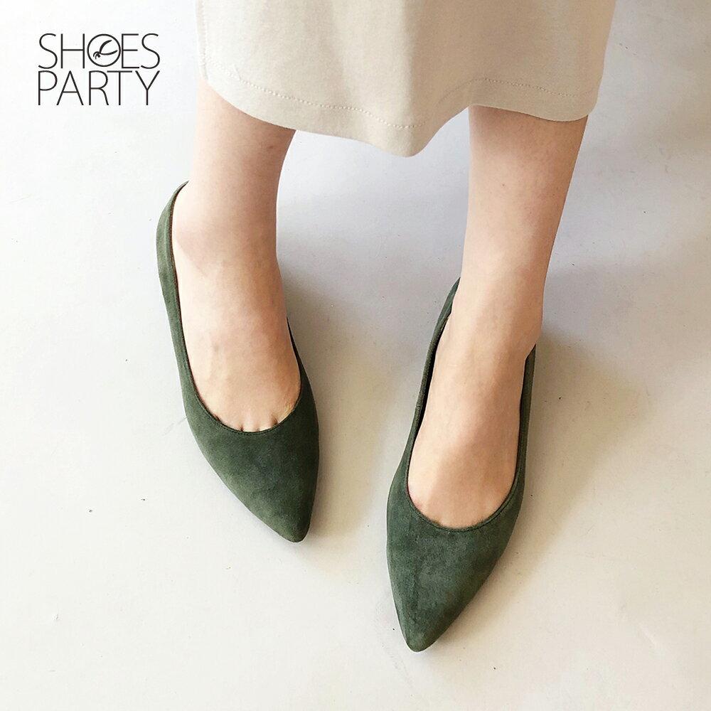【F2-19913L】高質感羊絨尖頭低跟鞋_Shoes Party 3