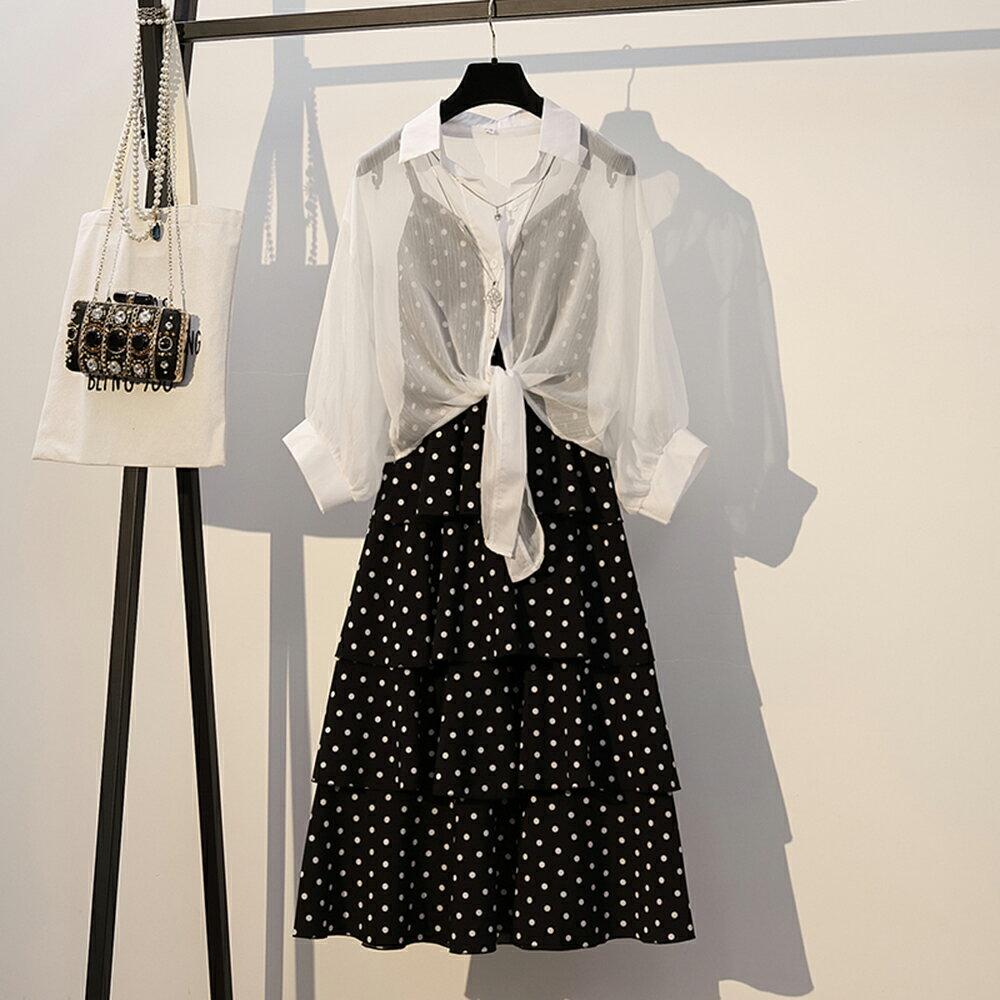 波點套裝連身裙洋裝(黑色M~3XL)*ORead* - 限時優惠好康折扣