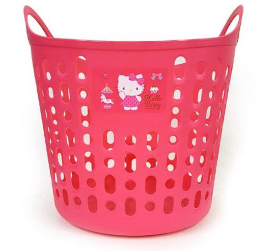 X射線【C076421】Hello Kitty 桃色塑膠手提汙衣籃-旋轉木馬,收納桶/收納籃/污衣籃/浴室收納
