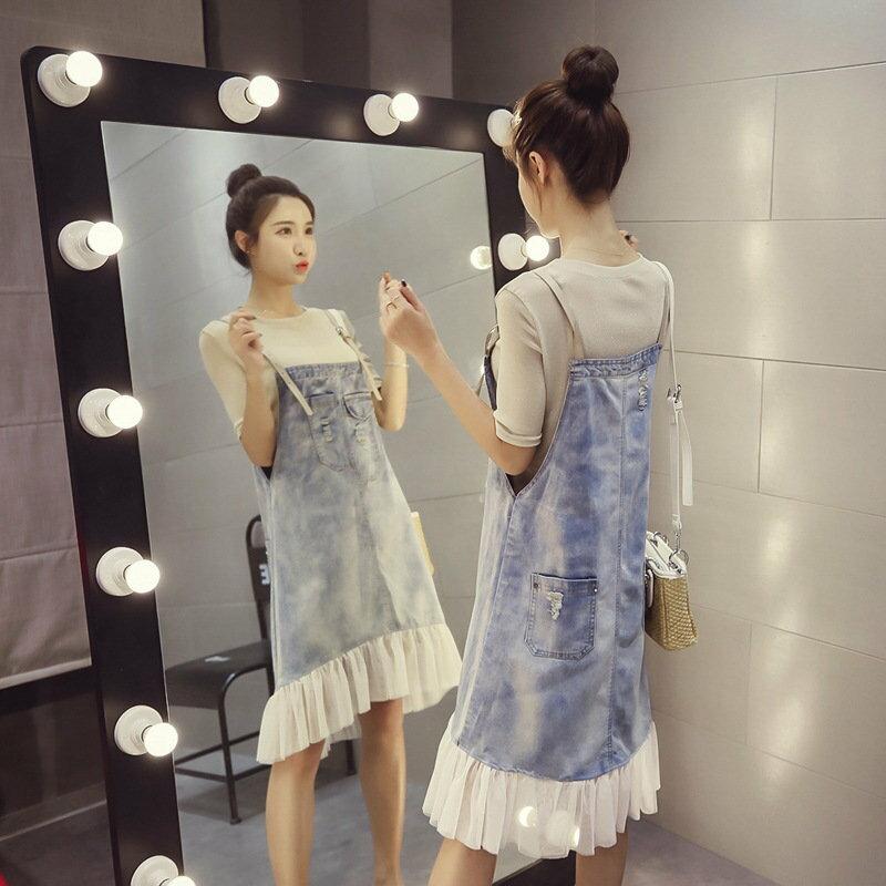 FINDSENSE G5 韓國時尚 純色 短袖 T恤 吊帶 牛仔裙 兩件套 連身裙 套裝