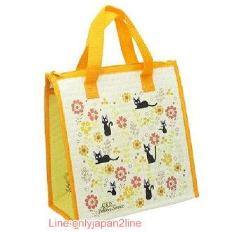 【真愛日本】17030300010不織布保冷袋-JIJI向日葵黃  魔女宅急便 黑貓 奇奇貓 手提袋  便當袋 正品