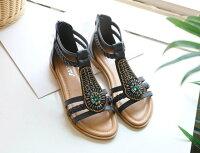 Pyf ♥ 波米亞民族風 串珠亮片沙灘涼鞋 寶石 編織 平底舒適拉鍊包後跟 42 大尺碼涼鞋-PYF-流行女裝